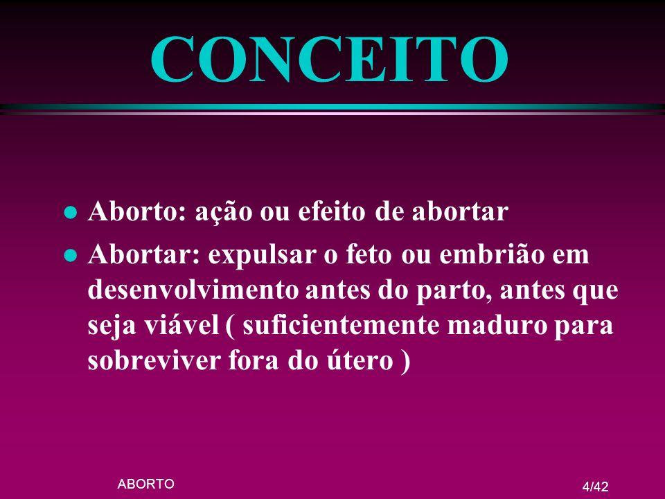 ABORTO 4/42 CONCEITO l Aborto: ação ou efeito de abortar l Abortar: expulsar o feto ou embrião em desenvolvimento antes do parto, antes que seja viáve