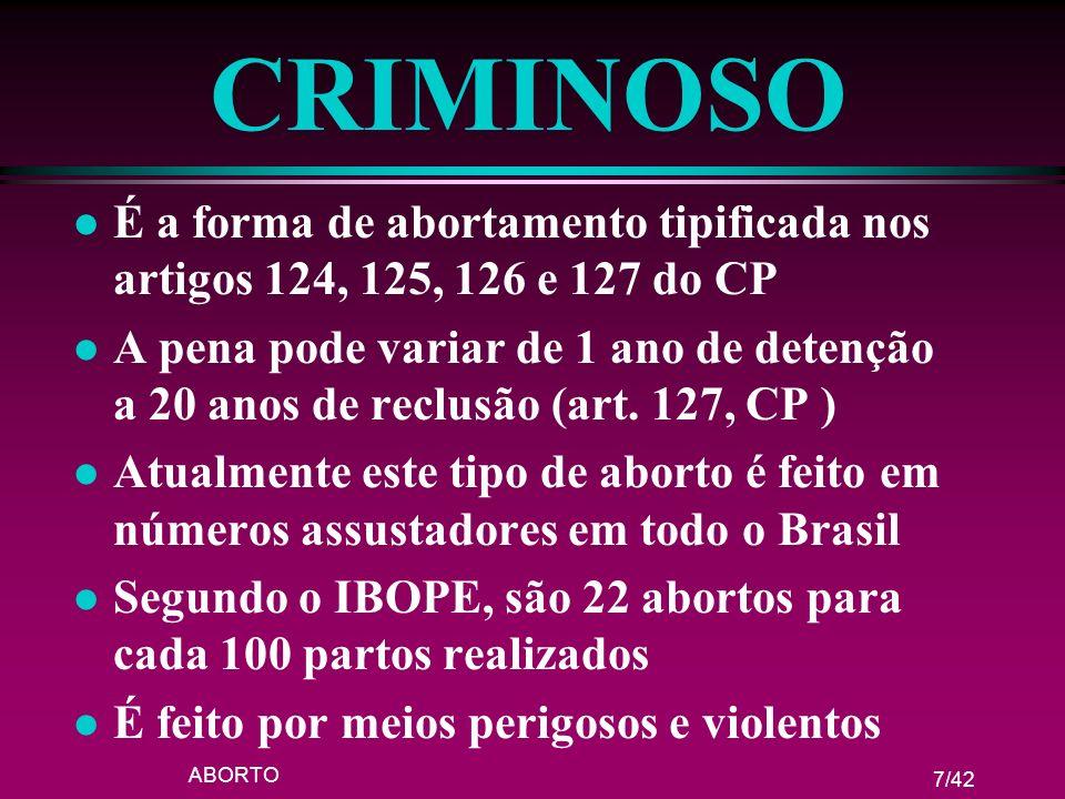 ABORTO 7/42 CRIMINOSO l É a forma de abortamento tipificada nos artigos 124, 125, 126 e 127 do CP l A pena pode variar de 1 ano de detenção a 20 anos