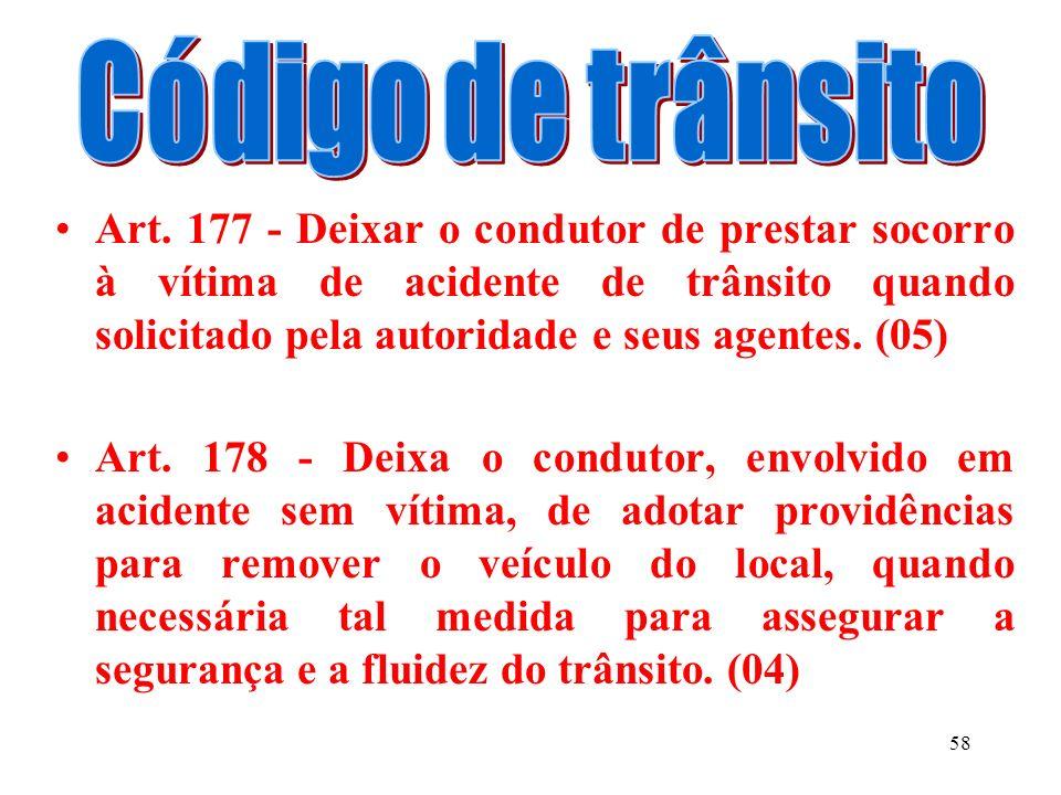 57 DEIXAR O CONDUTOR ENVOLVIDO EM ACIDENTE COM VÍTIMA. (07) I - de prestar ou providenciar socorro a vítima. II - de adotar providências, no sentido d