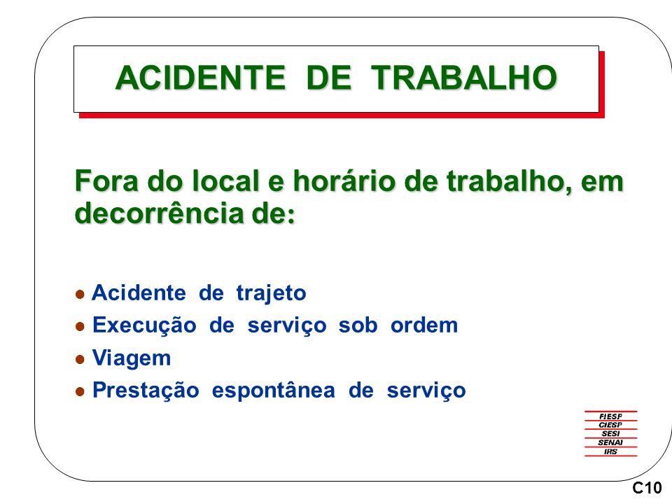 ACIDENTE DE TRABALHO Fora do local e horário de trabalho, em decorrência de : Acidente de trajeto Execução de serviço sob ordem Viagem Prestação espon