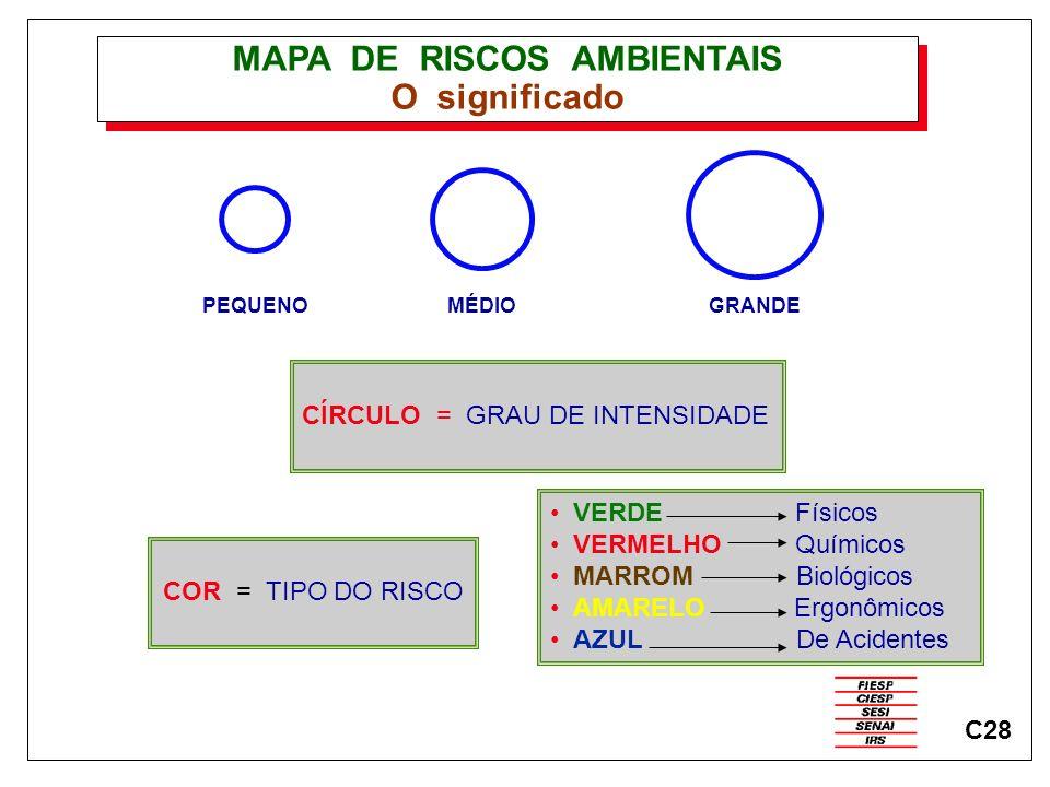 MAPA DE RISCOS AMBIENTAIS O significado PEQUENOMÉDIOGRANDE CÍRCULO = GRAU DE INTENSIDADE COR = TIPO DO RISCO VERDE Físicos VERMELHO Químicos MARROM Bi