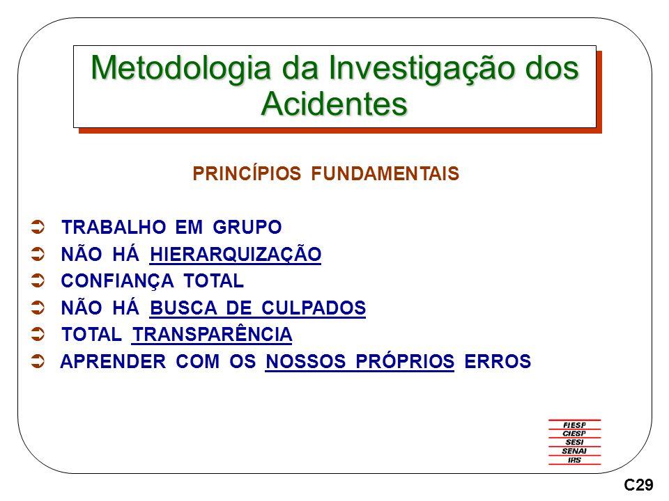 Metodologia da Investigação dos Acidentes PRINCÍPIOS FUNDAMENTAIS TRABALHO EM GRUPO NÃO HÁ HIERARQUIZAÇÃO CONFIANÇA TOTAL NÃO HÁ BUSCA DE CULPADOS TOTAL TRANSPARÊNCIA APRENDER COM OS NOSSOS PRÓPRIOS ERROS C29