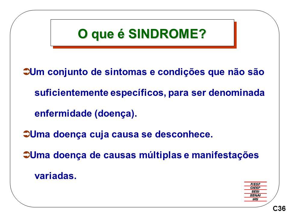 Um conjunto de sintomas e condições que não são suficientemente específicos, para ser denominada enfermidade (doença).