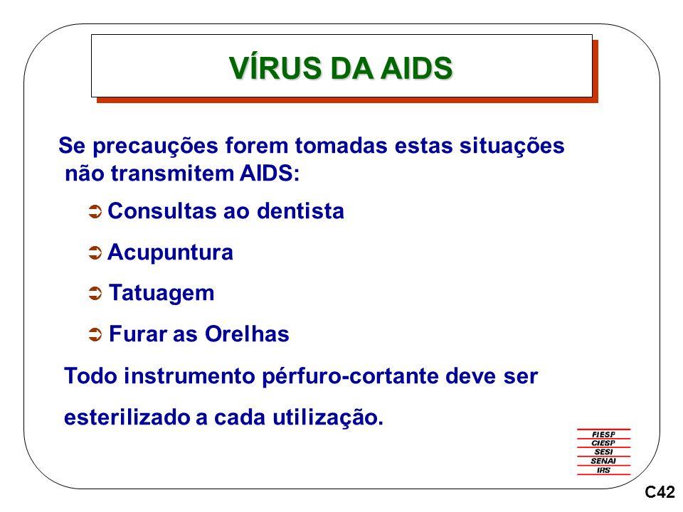 C42 Se precauções forem tomadas estas situações não transmitem AIDS: Consultas ao dentista Acupuntura Tatuagem Furar as Orelhas Todo instrumento pérfu