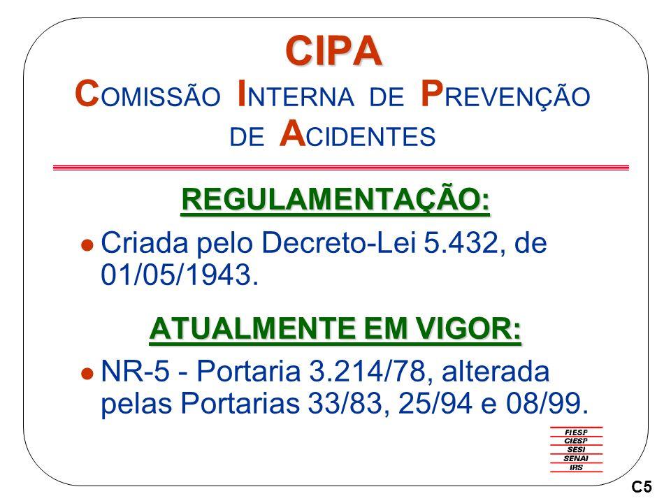 CIPA CIPA C OMISSÃO I NTERNA DE P REVENÇÃO DE A CIDENTES REGULAMENTAÇÃO: Criada pelo Decreto-Lei 5.432, de 01/05/1943.