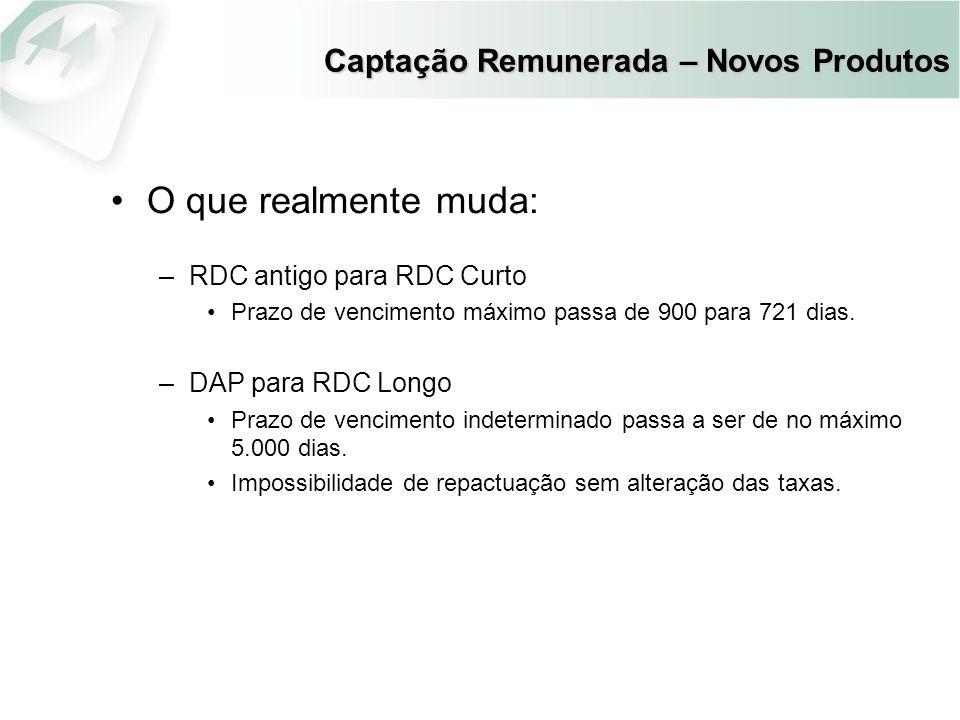 Captação Remunerada – Novos Produtos O que realmente muda: –RDC antigo para RDC Curto Prazo de vencimento máximo passa de 900 para 721 dias. –DAP para