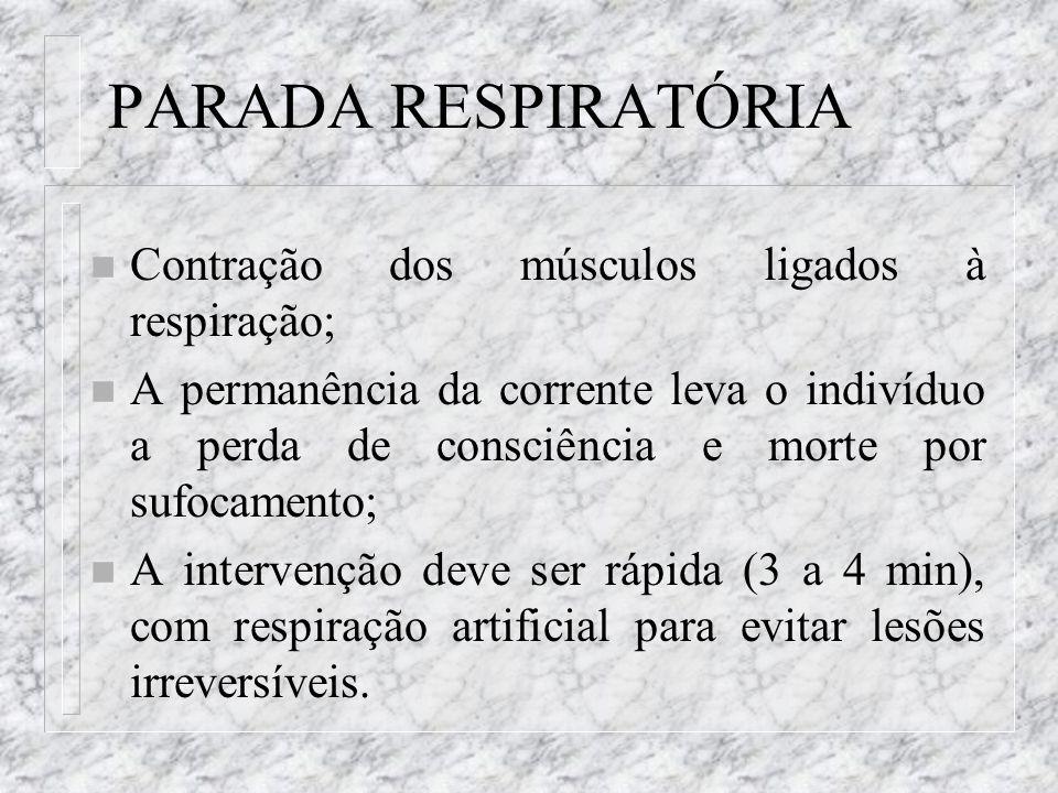 PARADA RESPIRATÓRIA n Contração dos músculos ligados à respiração; n A permanência da corrente leva o indivíduo a perda de consciência e morte por suf