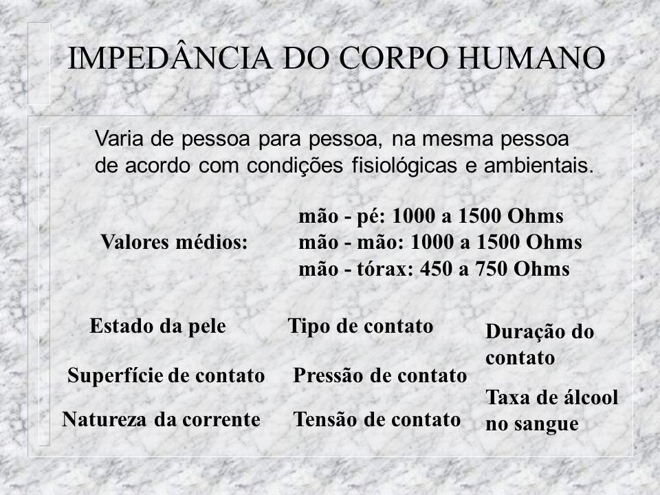 IMPEDÂNCIA DO CORPO HUMANO Varia de pessoa para pessoa, na mesma pessoa de acordo com condições fisiológicas e ambientais. mão - pé: 1000 a 1500 Ohms