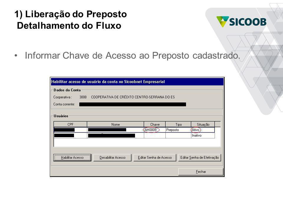 1) Liberação do Preposto Detalhamento do Fluxo Informar Chave de Acesso ao Preposto cadastrado.