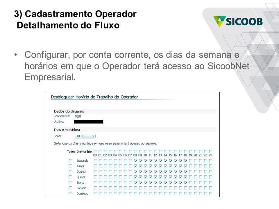 3) Cadastramento Operador Detalhamento do Fluxo Configurar, por conta corrente, os dias da semana e horários em que o Operador terá acesso ao SicoobNe