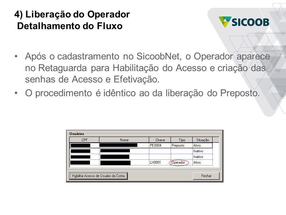 4) Liberação do Operador Detalhamento do Fluxo Após o cadastramento no SicoobNet, o Operador aparece no Retaguarda para Habilitação do Acesso e criaçã