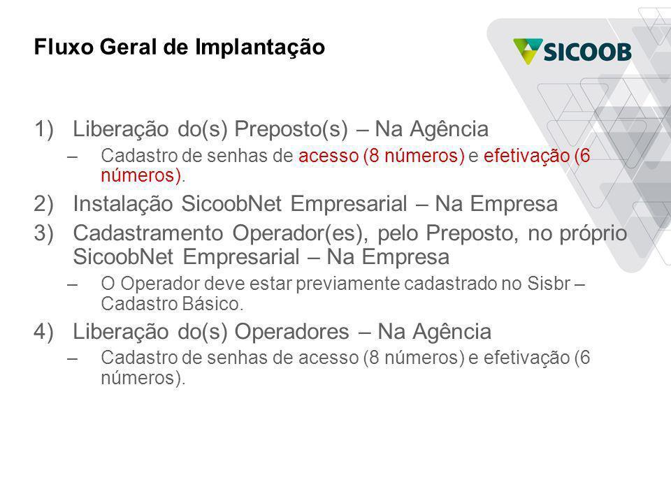 Fluxo Geral de Implantação 1)Liberação do(s) Preposto(s) – Na Agência –Cadastro de senhas de acesso (8 números) e efetivação (6 números). 2)Instalação
