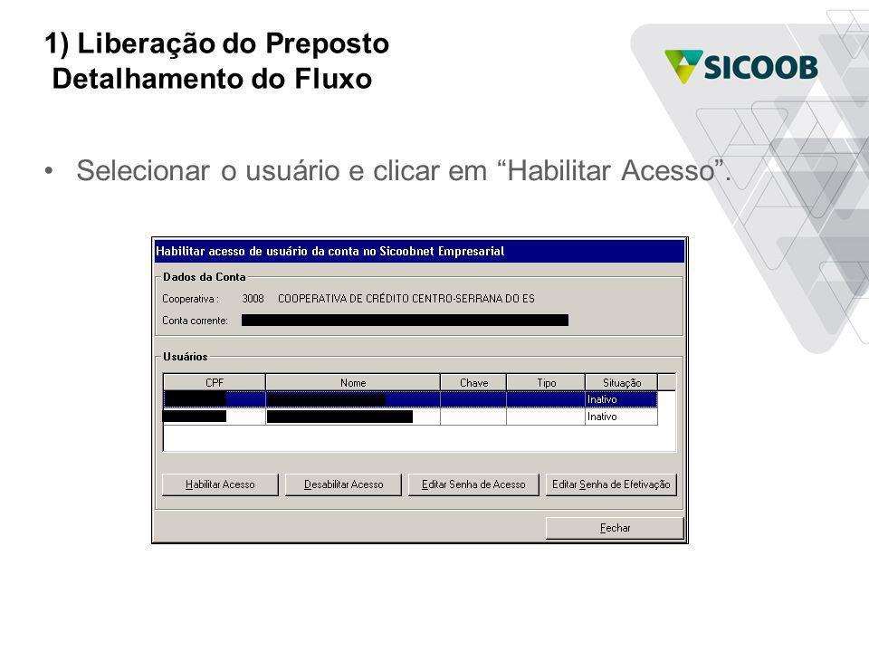 1) Liberação do Preposto Detalhamento do Fluxo Selecionar o usuário e clicar em Habilitar Acesso.