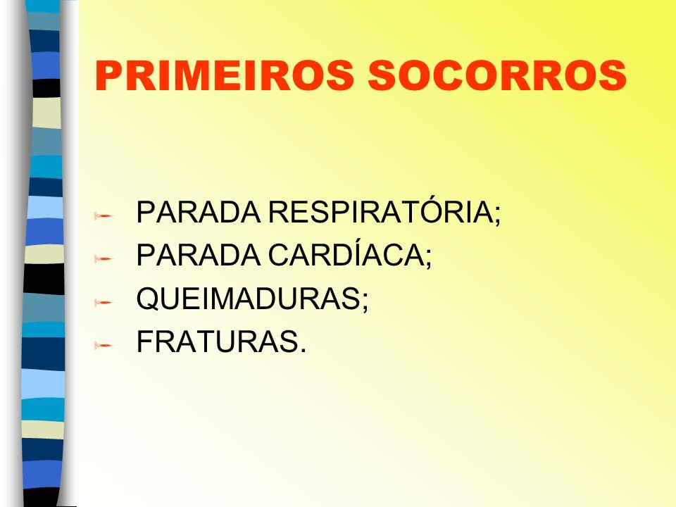PRIMEIROS SOCORROS PARADA RESPIRATÓRIA; PARADA CARDÍACA; QUEIMADURAS; FRATURAS.