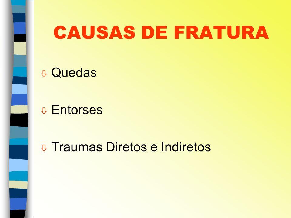 CAUSAS DE FRATURA ò Quedas ò Entorses ò Traumas Diretos e Indiretos