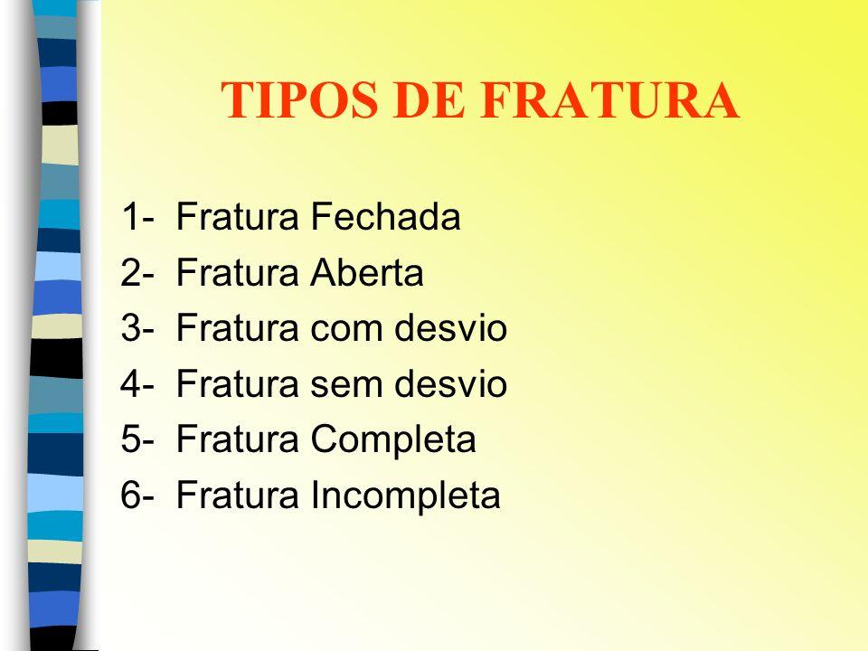 TIPOS DE FRATURA 1- Fratura Fechada 2- Fratura Aberta 3- Fratura com desvio 4- Fratura sem desvio 5- Fratura Completa 6- Fratura Incompleta