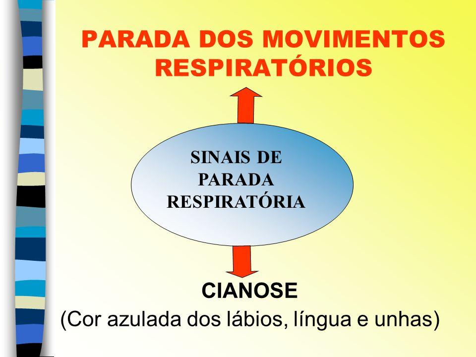PARADA DOS MOVIMENTOS RESPIRATÓRIOS CIANOSE (Cor azulada dos lábios, língua e unhas) SINAIS DE PARADA RESPIRATÓRIA