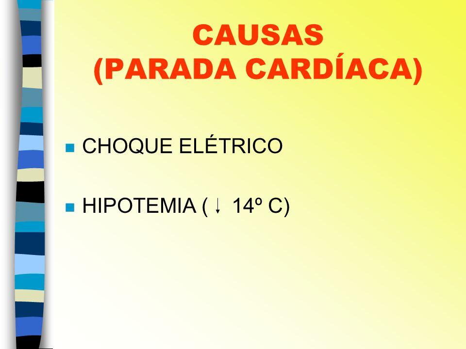CAUSAS (PARADA CARDÍACA) n CHOQUE ELÉTRICO n HIPOTEMIA ( 14º C)
