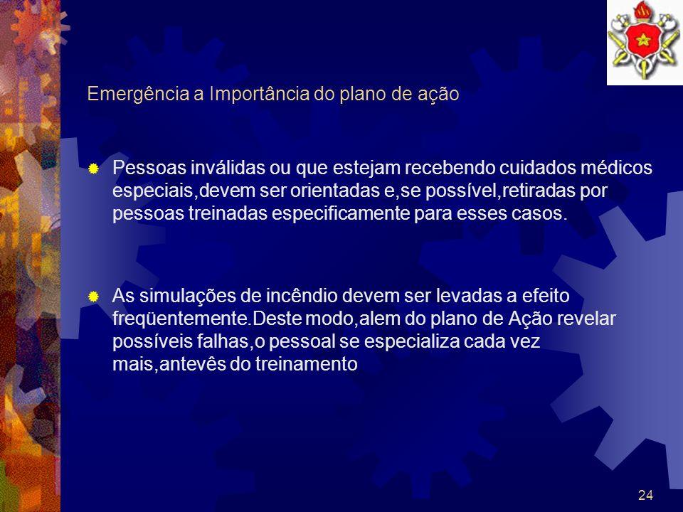 23 Emergência a Importância do plano de ação Os procedimentos operacionais escritos que possam estar condidos no plano de ação especialmente elaborado