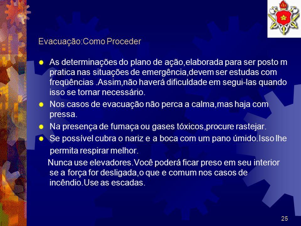24 Emergência a Importância do plano de ação Pessoas inválidas ou que estejam recebendo cuidados médicos especiais,devem ser orientadas e,se possível,