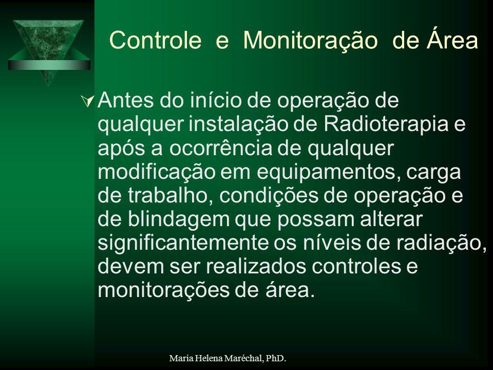 Maria Helena Maréchal, PhD. Controle e Monitoração de Área Antes do início de operação de qualquer instalação de Radioterapia e após a ocorrência de q