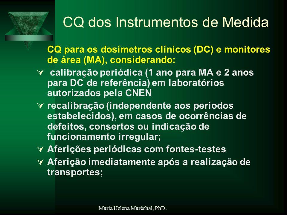 Maria Helena Maréchal, PhD. CQ dos Instrumentos de Medida CQ para os dosímetros clínicos (DC) e monitores de área (MA), considerando: calibração perió