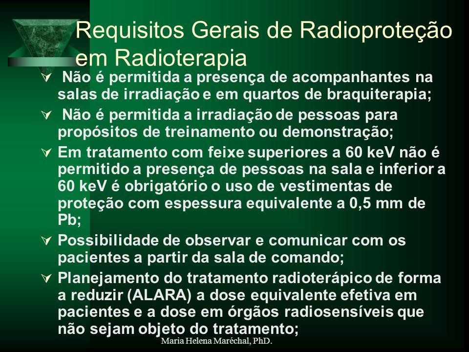 Maria Helena Maréchal, PhD. Requisitos Gerais de Radioproteção em Radioterapia Não é permitida a presença de acompanhantes na salas de irradiação e em