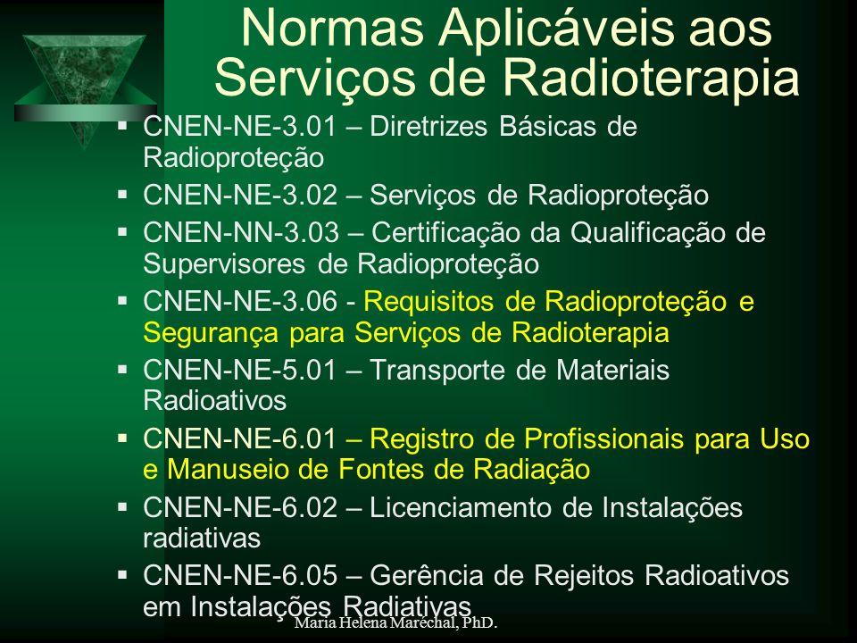 Maria Helena Maréchal, PhD. Normas Aplicáveis aos Serviços de Radioterapia CNEN-NE-3.01 – Diretrizes Básicas de Radioproteção CNEN-NE-3.02 – Serviços