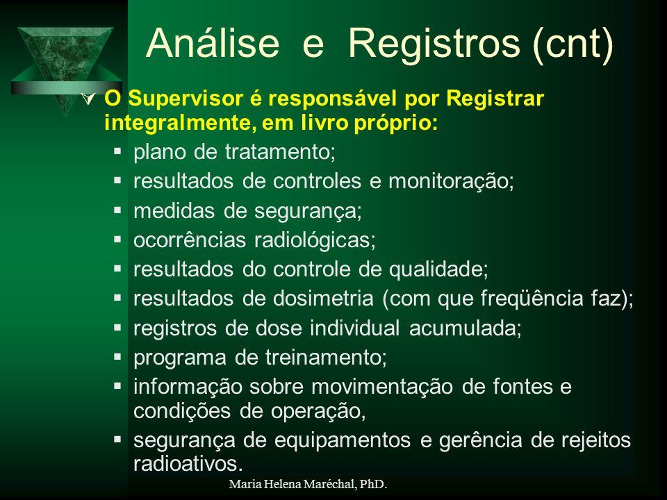 Maria Helena Maréchal, PhD. Análise e Registros (cnt) O Supervisor é responsável por Registrar integralmente, em livro próprio: plano de tratamento; r