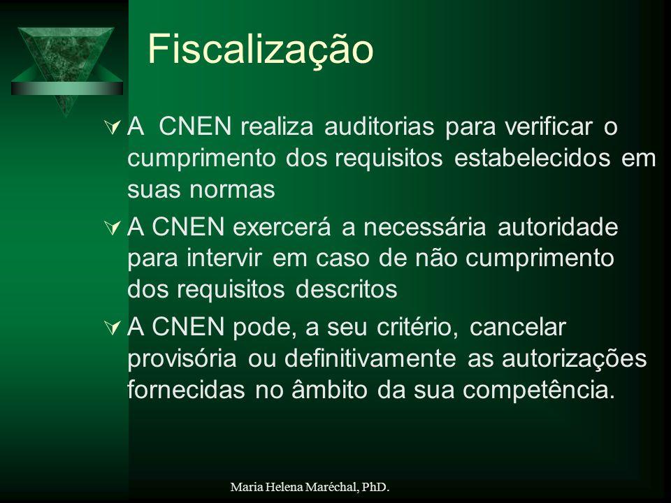 Maria Helena Maréchal, PhD. Fiscalização A CNEN realiza auditorias para verificar o cumprimento dos requisitos estabelecidos em suas normas A CNEN exe