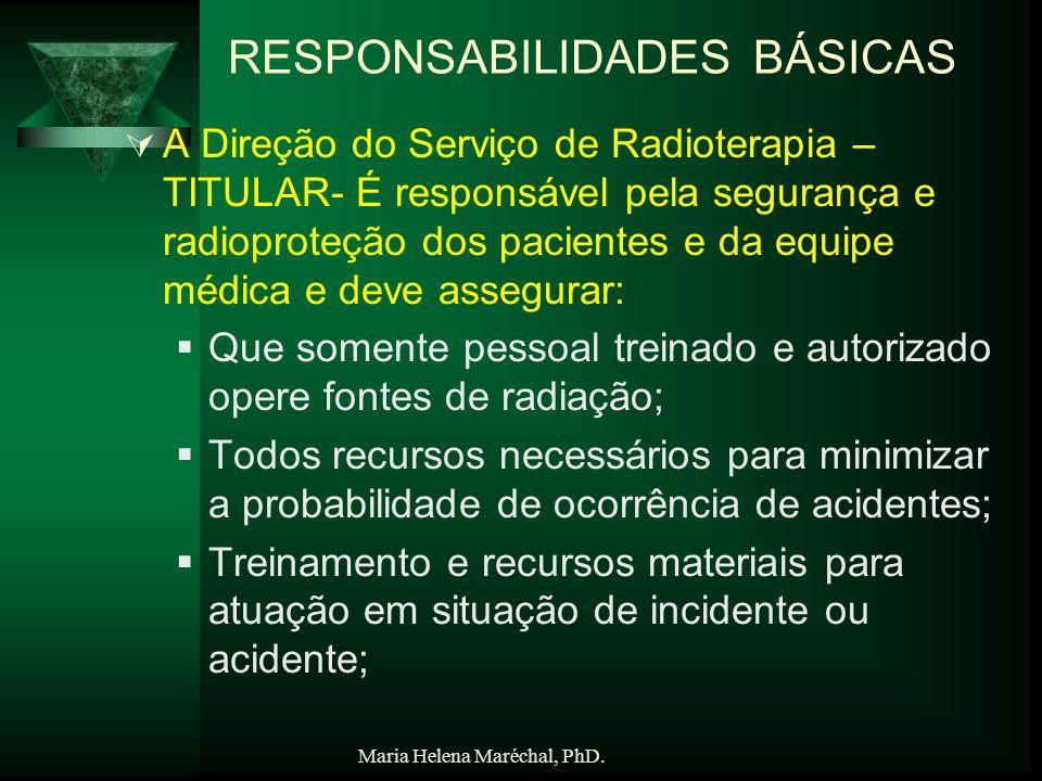Maria Helena Maréchal, PhD. RESPONSABILIDADES BÁSICAS A Direção do Serviço de Radioterapia – TITULAR- É responsável pela segurança e radioproteção dos