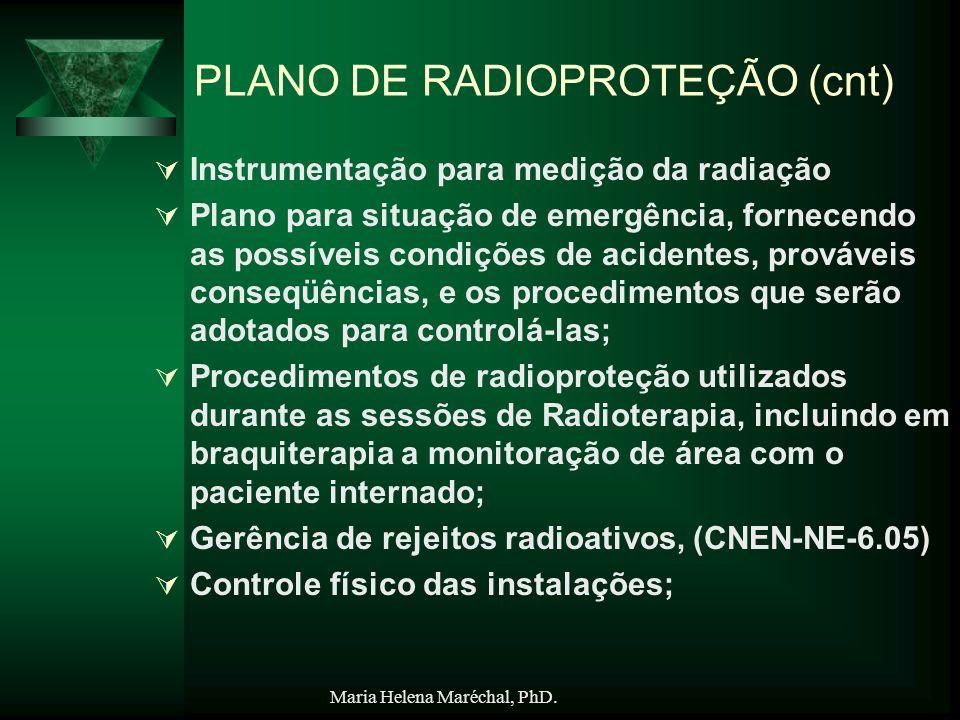 Maria Helena Maréchal, PhD. PLANO DE RADIOPROTEÇÃO (cnt) Instrumentação para medição da radiação Plano para situação de emergência, fornecendo as poss