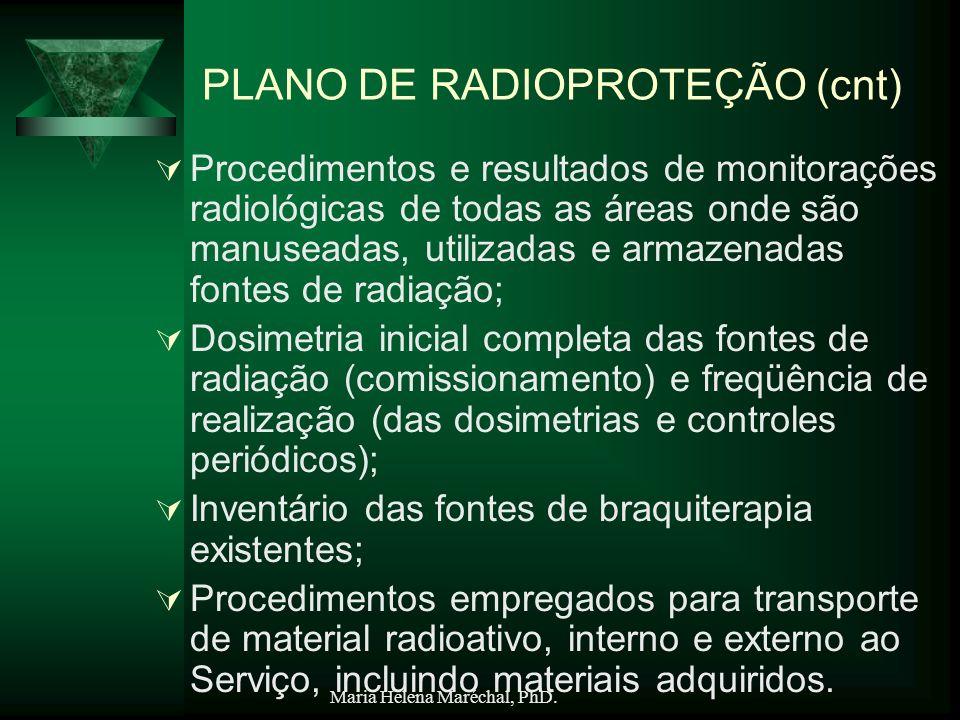 Maria Helena Maréchal, PhD. PLANO DE RADIOPROTEÇÃO (cnt) Procedimentos e resultados de monitorações radiológicas de todas as áreas onde são manuseadas