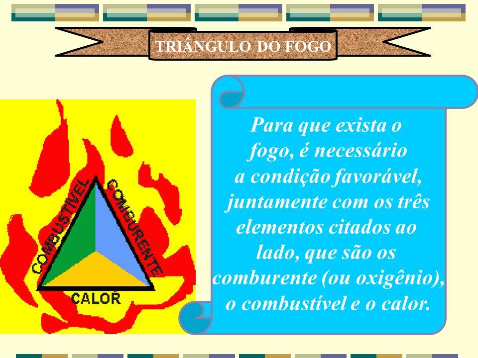TRIÂNGULO DO FOGO Para que exista o fogo, é necessário a condição favorável, juntamente com os três elementos citados ao lado, que são os comburente (ou oxigênio), o combustível e o calor.