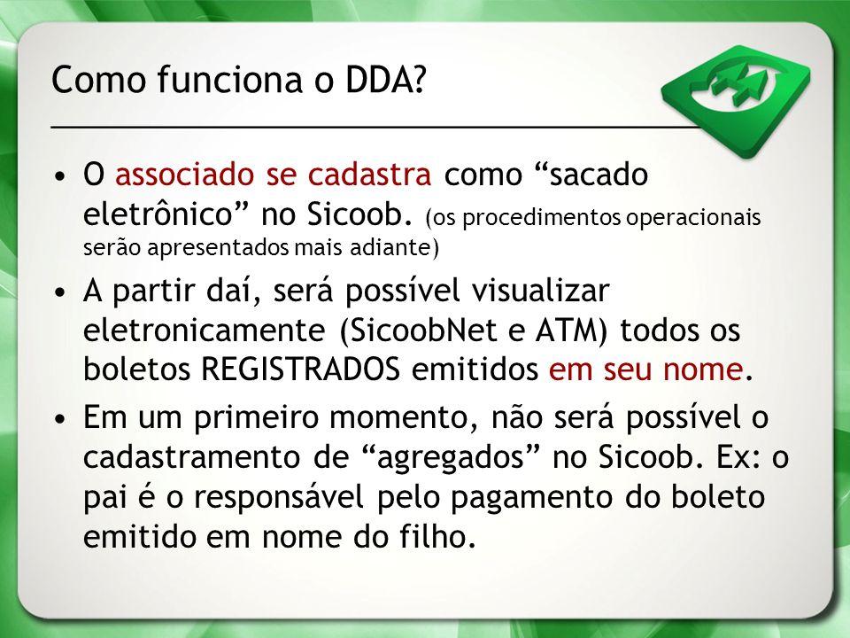 Como funciona o DDA? O associado se cadastra como sacado eletrônico no Sicoob. (os procedimentos operacionais serão apresentados mais adiante) A parti
