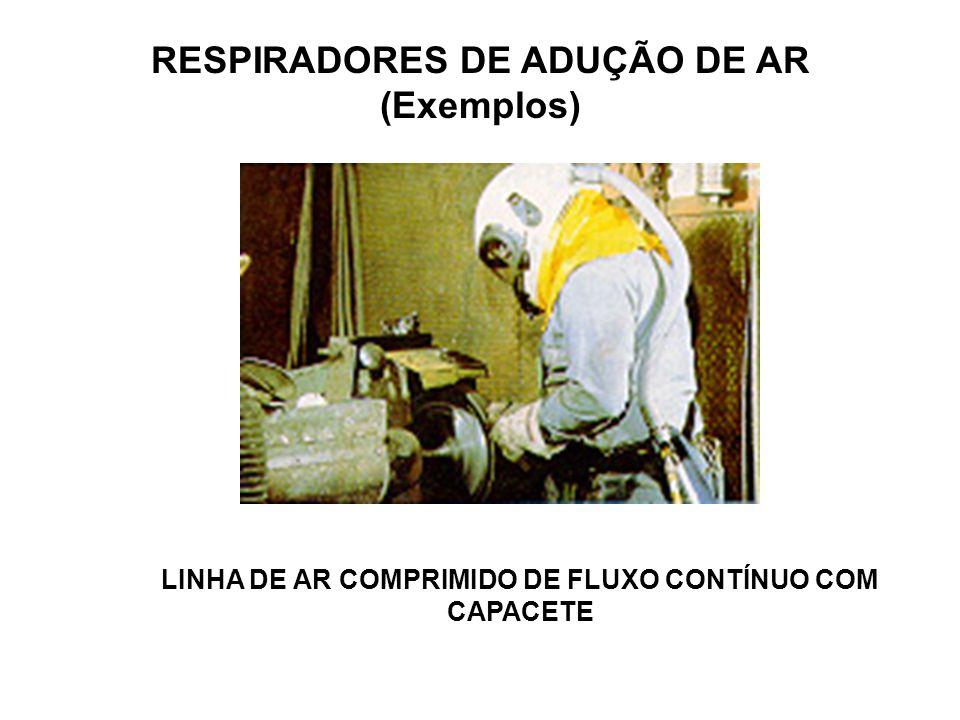 RESPIRADORES DE ADUÇÃO DE AR (Exemplos) LINHA DE AR COMPRIMIDO DE FLUXO CONTÍNUO COM CAPUZ LINHA DE AR NATURAL