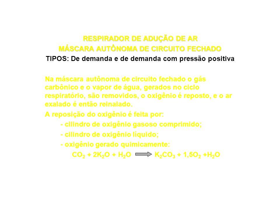RESPIRADORES DE ADUÇÃO DE AR LINHA DE AR COMPRIMIDO DE DEMANDA COM PRESSÃO POSITIVA COMBINADO COM CILINDRO AUXILIAR (Exemplo) Válvula de demanda Peça