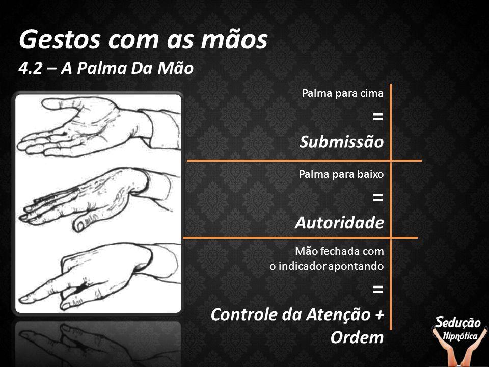 Gestos com as mãos 4.2 – A Palma Da Mão Palma para cima = Submissão Palma para baixo = Autoridade Mão fechada com o indicador apontando = Controle da