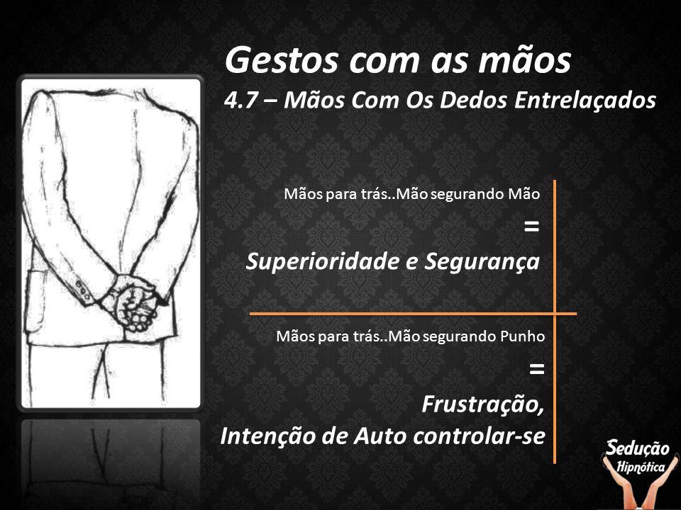Gestos com as mãos 4.7 – Mãos Com Os Dedos Entrelaçados Mãos para trás..Mão segurando Punho = Frustração, Intenção de Auto controlar-se Mãos para trás