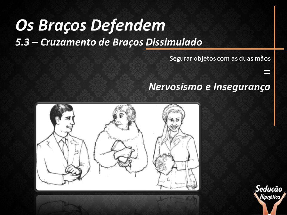 Os Braços Defendem 5.3 – Cruzamento de Braços Dissimulado Segurar objetos com as duas mãos = Nervosismo e Insegurança