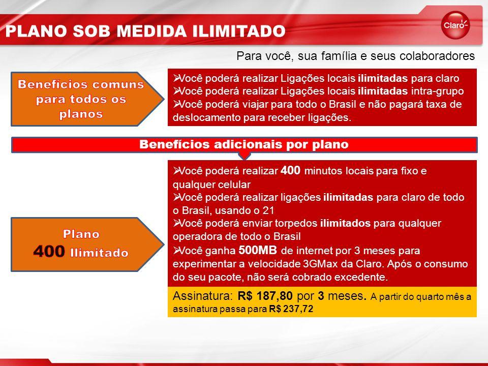 PLANO SOB MEDIDA ILIMITADO Para você, sua família e seus colaboradores Você poderá realizar Ligações locais ilimitadas para claro Você poderá realizar Ligações locais ilimitadas intra-grupo Você poderá viajar para todo o Brasil e não pagará taxa de deslocamento para receber ligações.