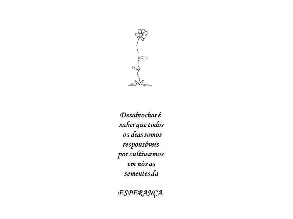 Desabrochar é saber que todos os dias somos responsáveis por cultivarmos em nós as sementes da ESPERANÇA.