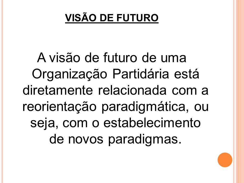VISÃO DE FUTURO A visão de futuro de uma Organização Partidária está diretamente relacionada com a reorientação paradigmática, ou seja, com o estabele