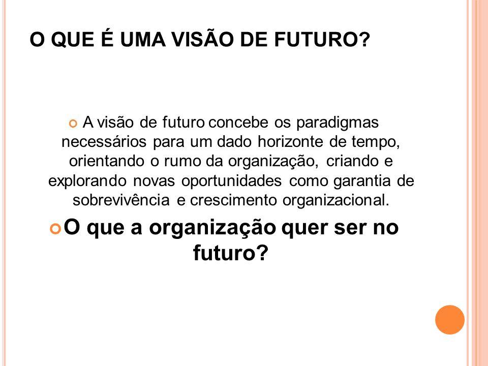 O QUE É UMA VISÃO DE FUTURO? A visão de futuro concebe os paradigmas necessários para um dado horizonte de tempo, orientando o rumo da organização, cr