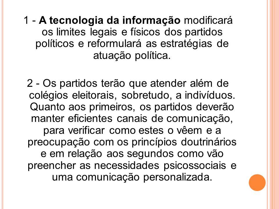 1 - A tecnologia da informação modificará os limites legais e físicos dos partidos políticos e reformulará as estratégias de atuação política. 2 - Os