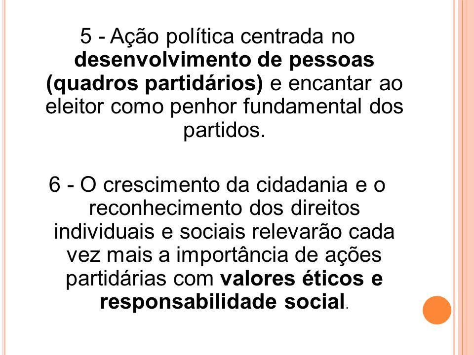 5 - Ação política centrada no desenvolvimento de pessoas (quadros partidários) e encantar ao eleitor como penhor fundamental dos partidos. 6 - O cresc