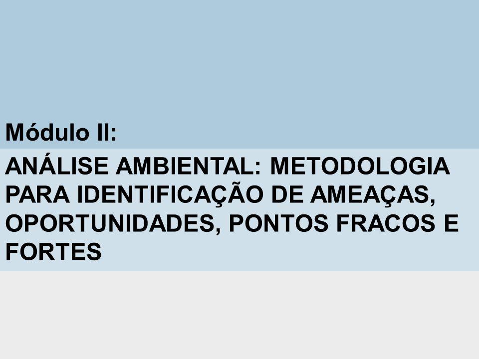 Módulo II: ANÁLISE AMBIENTAL: METODOLOGIA PARA IDENTIFICAÇÃO DE AMEAÇAS, OPORTUNIDADES, PONTOS FRACOS E FORTES