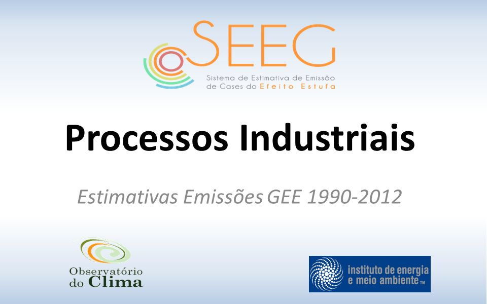 Processos Industriais Estimativas Emissões GEE 1990-2012