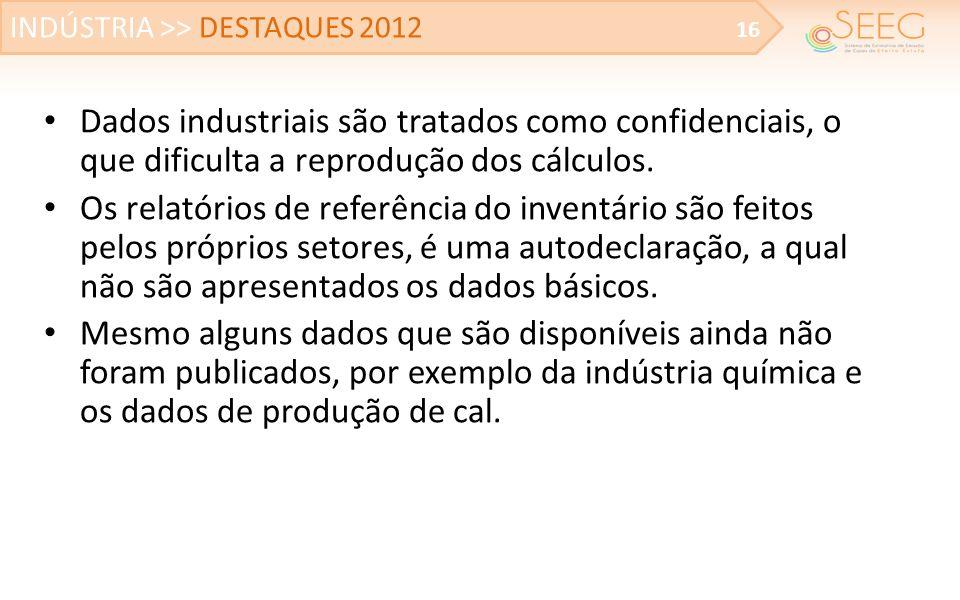 Dados industriais são tratados como confidenciais, o que dificulta a reprodução dos cálculos. Os relatórios de referência do inventário são feitos pel