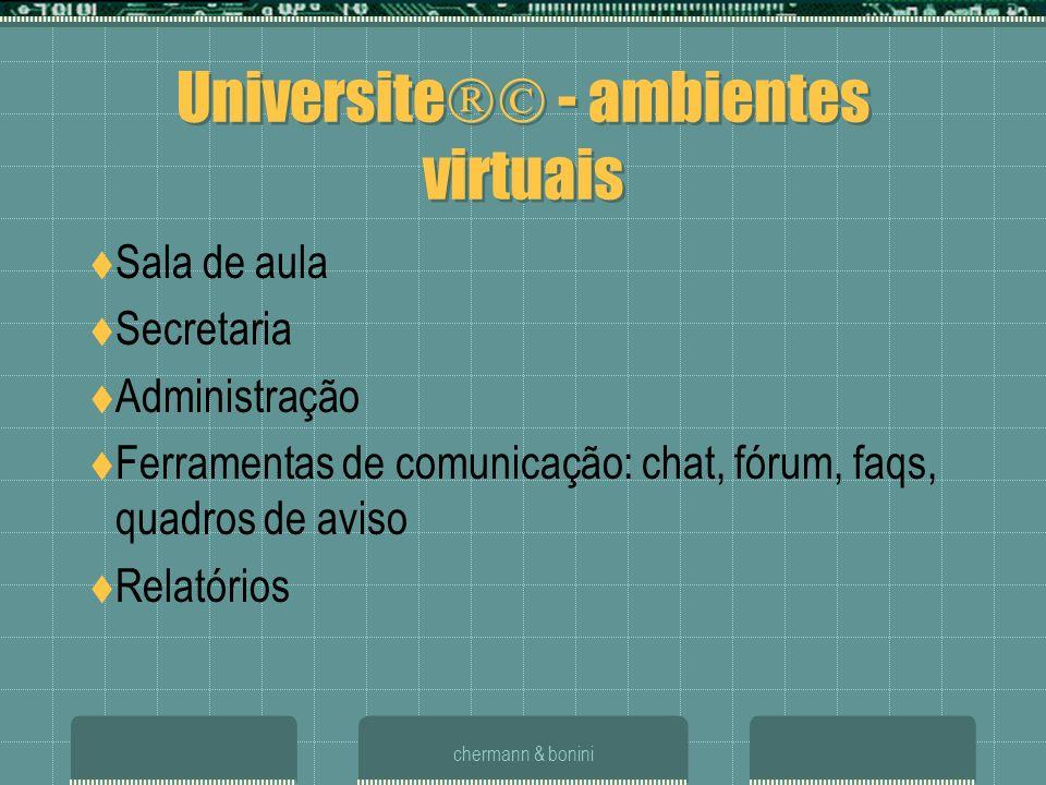 chermann & bonini Universite - ambientes virtuais Sala de aula Secretaria Administração Ferramentas de comunicação: chat, fórum, faqs, quadros de avis